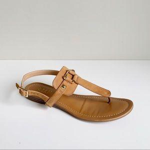 Franco Sarto Leather T Strap Flat Taupe Sandal
